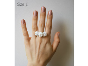 Trio Rose Ring size 1 in White Natural Versatile Plastic