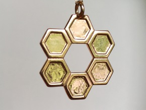 Honeycomb Ring Pendant in 14k Rose Gold Plated Brass