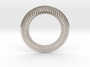 0566 Double Rotation Of Point (6 cm) #001 in Rhodium Plated Brass
