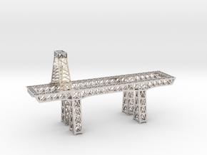 "3.5"" micro metal crane in Rhodium Plated Brass"