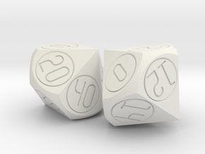 Alternative percentile dice set in White Natural Versatile Plastic