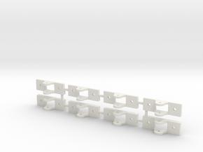 8 Slide Rollers in White Natural Versatile Plastic