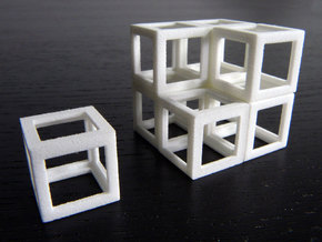 Eight cubes in White Natural Versatile Plastic