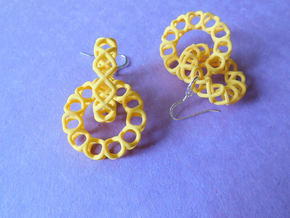 XOXO Linked Rings - a pair of earrings in Yellow Processed Versatile Plastic