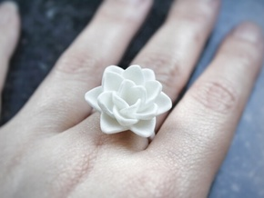 Rose Ring 17.3mm in White Processed Versatile Plastic: 7 / 54
