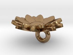 Flower Keychain Charm in Natural Brass