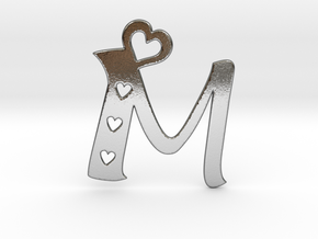 Initial M with heart cut outs pendant in Polished Silver