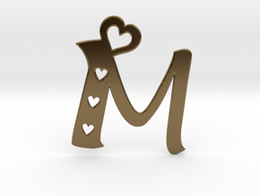 Initial M with heart cut outs pendant in Polished Bronze