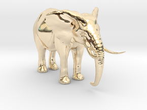 African Alpha Elephant in 14k Gold Plated Brass