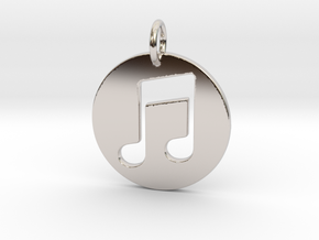 Music Note in Rhodium Plated Brass