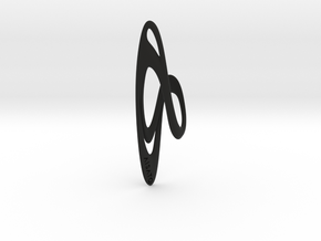 Loop Earring or Pendant top  in Black Natural Versatile Plastic
