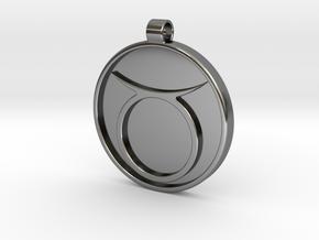 Zodiac KeyChain Medallion-TAURUS in Fine Detail Polished Silver