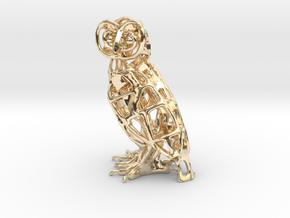 Barn Owl Pendant in 14k Gold Plated Brass