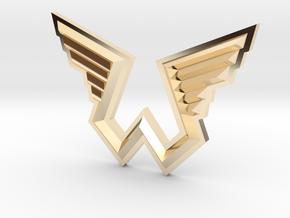 Wings Logo Pendant in 14k Gold Plated Brass