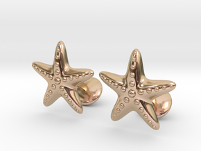 Starfish Cufflinks in 14k Rose Gold Plated Brass