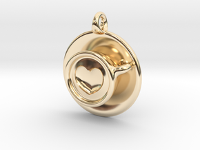 Coffee Love Pendant in 14k Gold Plated Brass