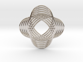 0540 Motion Of Points Around Circle (5cm) #017 in Rhodium Plated Brass