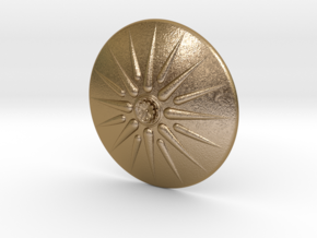 Sun of Vergina Belt Buckle, Detailed Center in Polished Gold Steel