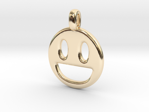 Happy Smile 3D printed jewelry pendant in 14K Yellow Gold