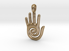 Hopi Spiral Hand Creativity Symbol Jewelry Pendant in Polished Gold Steel