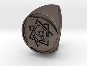 Custom Signet Ring 27 in Polished Bronzed Silver Steel