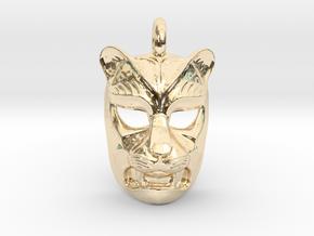 Leopard kabuki-style Pendant in 14K Yellow Gold