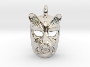 Leopard kabuki-style Pendant in Rhodium Plated Brass