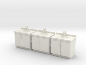Vanity sink 01. HO Scale (1:87) in White Strong & Flexible