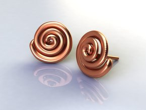 Spiral Earrings  in Polished Bronze