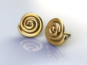 Spiral Earrings  in Polished Brass
