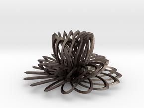16 Petal Full in Polished Bronzed Silver Steel