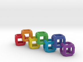 Fixed Link Chain Rainbow Cube in Full Color Sandstone
