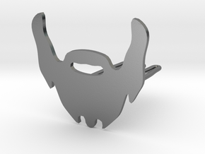 Beard icon with mustace for beard - front wearing in Polished Silver