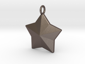 Geometric Star Pendant in Polished Bronzed Silver Steel