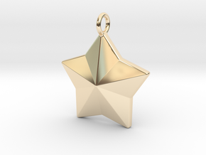 Geometric Star Pendant in 14k Gold Plated Brass