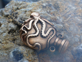 Small Octopus Vial Pendant in Raw Bronze