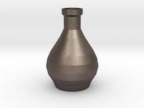 Decorative Design Jar in Polished Bronzed Silver Steel