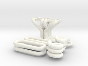 1/12 Small Block Chevy Custom Header Kit in White Processed Versatile Plastic