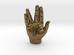 Spock Vulcan Hand Pendant in Natural Bronze