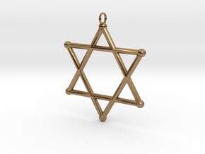 Star Of David 2 in Natural Brass