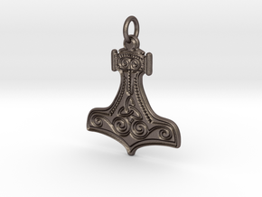 Thor's Hammer Pendant (steel) in Polished Bronzed Silver Steel