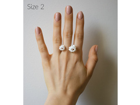 Double Rose Ring size 2 in White Natural Versatile Plastic