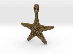 Starfish Symbol 3D Sculpted Jewelry Pendant in Natural Bronze