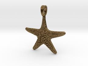 Starfish Symbol 3D Sculpted Jewelry Pendant in Raw Bronze