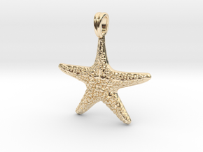 Starfish Symbol 3D Sculpted Jewelry Pendant in 14K Yellow Gold
