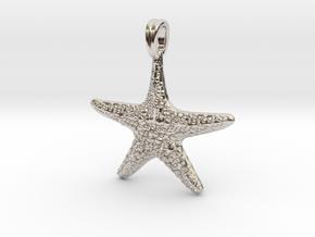 Starfish Symbol 3D Sculpted Jewelry Pendant in Platinum