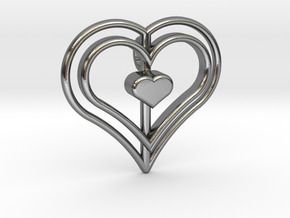 Three Heart Pendant in Polished Silver
