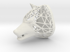 Wolf Trophy Wireframe 80mm in White Natural Versatile Plastic