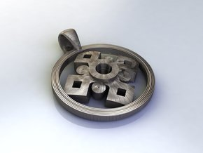 Pendant, Forces of Nature  in Polished Bronzed Silver Steel