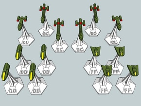 MicroFleet Tridran Fast Attack Group (14pcs) in Smooth Fine Detail Plastic